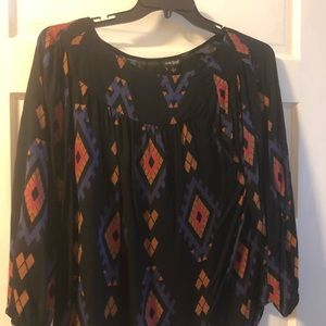 Lucky large black printed blouse